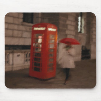 London Rainy Day Phone Box / Umbrella Mousepad
