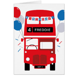 London Red Bus Personalised Age Birthday Card
