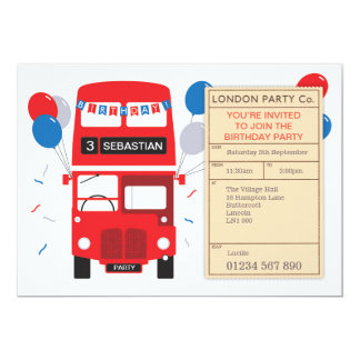 London Red Bus Personalised Birthday Party Invite