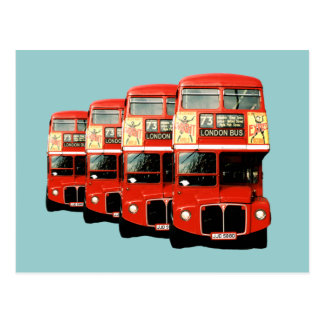 London Red Double-Decker Buses Postcard