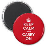 London Red Keep Calm and Carry On Refrigerator Magnets