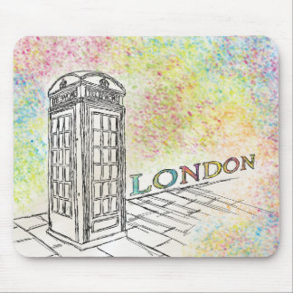 London Red Phone Box Colour Splash Mouse Pad