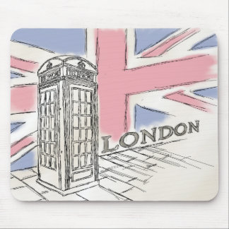 London Red Phone Box Sketch Mouse Pad