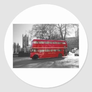 London Red Routemaster Bus Classic Round Sticker
