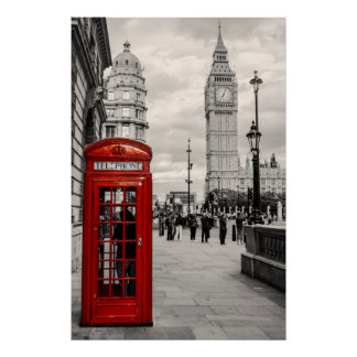 London Red Telephone Big Ben Landscape Poster