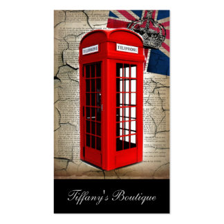 london red telephone booth fashion british flag pack of standard business cards