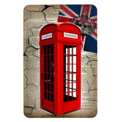 london red telephone booth fashion british flag rectangle magnets
