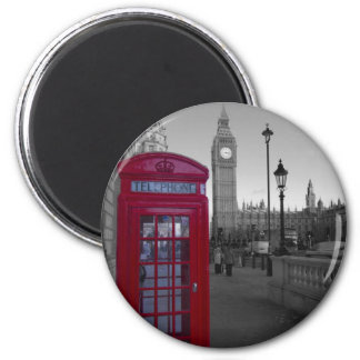 London Red Telephone box 6 Cm Round Magnet