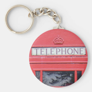 London Red Telephone Box Basic Round Button Key Ring