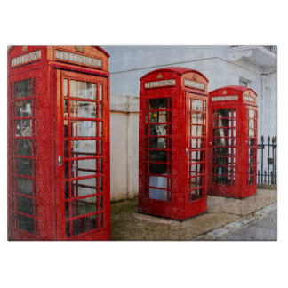 London Red Telephone Boxes, Photograph Cutting Board