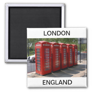 London Red Telephone Boxes Square Magnet