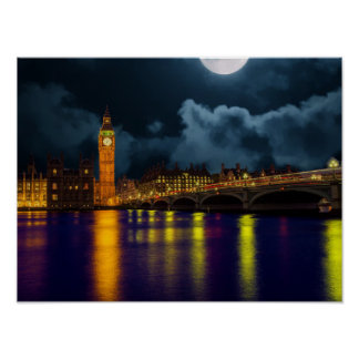 London scene with the Thames River and Big Ben Poster
