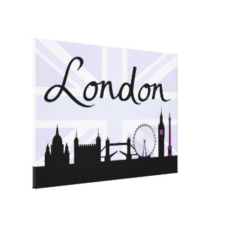London Script on Union Jack Sky & Sites Purple Canvas Print