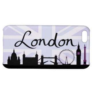 London Script on Union Jack Sky & Sites Purple Case For iPhone 5C