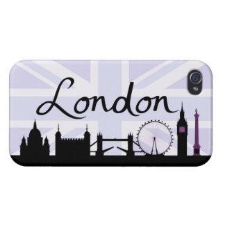 London Script on Union Jack Sky & Sites Purple iPhone 4 Covers