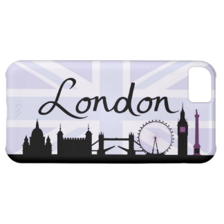 London Script on Union Jack Sky & Sites Purple iPhone 5C Case