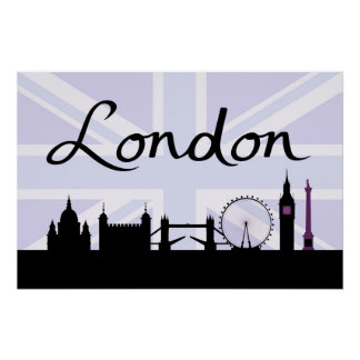 London Script on Union Jack Sky & Sites Purple Poster