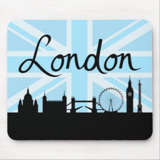 London Script & Sites on Union Jack Sky Mouse Pad