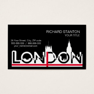 London silhouette and English flag Business Card