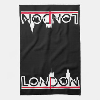 London silhouette and English flag Tea Towel