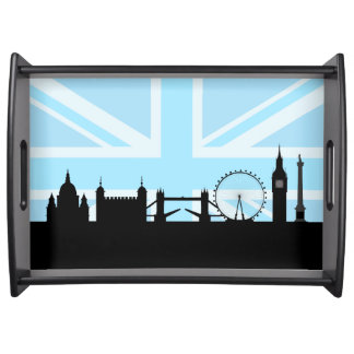 London Sites Skyline and Blue Union Jack/Flag Serving Tray