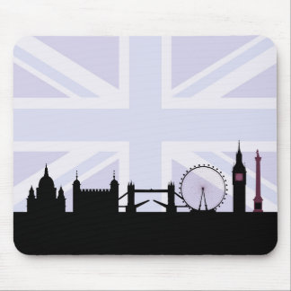 London Sites Skyline & Union Jack/Flag Purples Mouse Pad