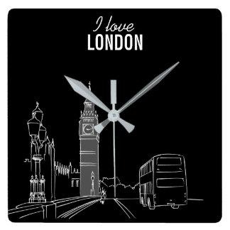 London Sketch Stylish Modern Simple Cool Modern Square Wall Clock