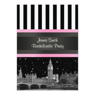 London Skyline BW Blk Wht Strp Pink Bachelorette Card