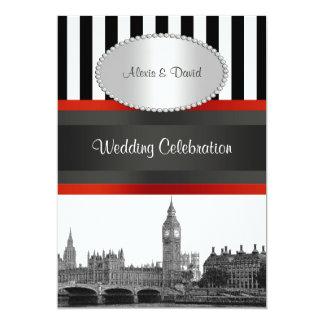 London Skyline BW Blk Wht Strp Red P Wedding Card