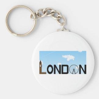 London Skyline Daytime Basic Round Button Key Ring