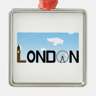 London Skyline Daytime Metal Ornament