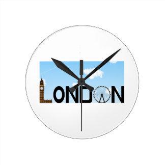 London Skyline Daytime Round Clock