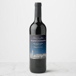 London Skyline Etched Starry Blue Gradient BG Wine Label