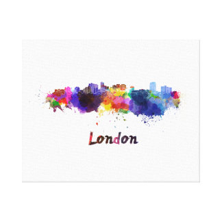 London skyline in watercolor canvas print