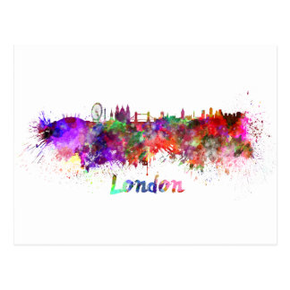 London skyline in watercolor postcard
