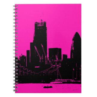 London skyline pink - digitally altered notebook