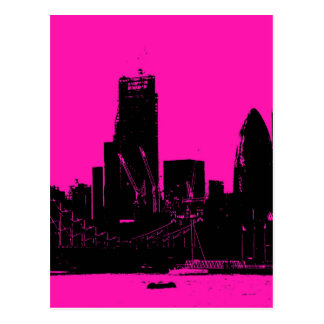 London skyline pink - digitally altered postcard