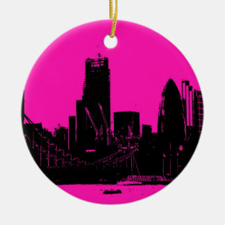 London skyline pink - digitally altered round ceramic decoration
