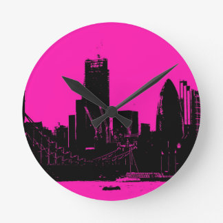 London skyline pink - digitally altered wall clock