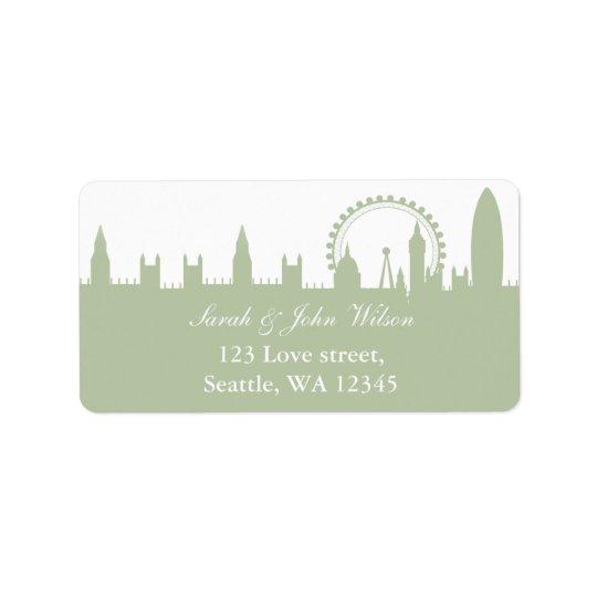 London Skyline Sage address label