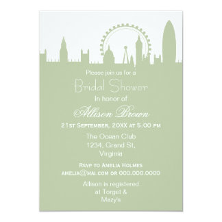 London Skyline Sage Bridal shower Invites