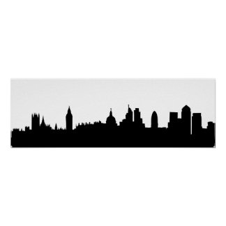 London skyline silhouette cityscape poster