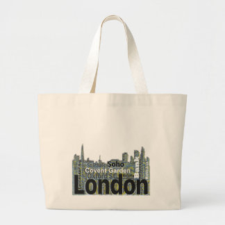 London Skyline Silhouette Large Tote Bag