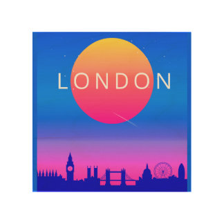 London Skyline Sunset Travel Poster