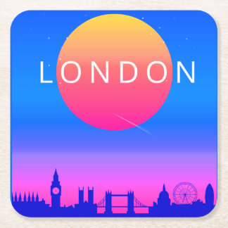 London Skyline Sunset Travel Poster Square Paper Coaster