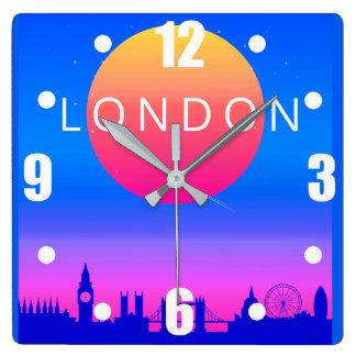 London Skyline Sunset Travel Poster Square Wall Clock