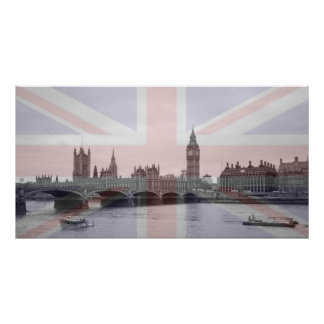 London Skyline Union Jack Flag Poster