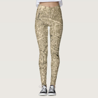 London Street Map Vintage Style Leggings