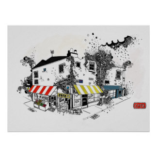 london street shops travel hand drawing poster
