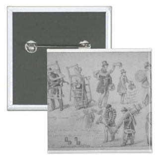 London street traders, 1830-40 15 cm square badge